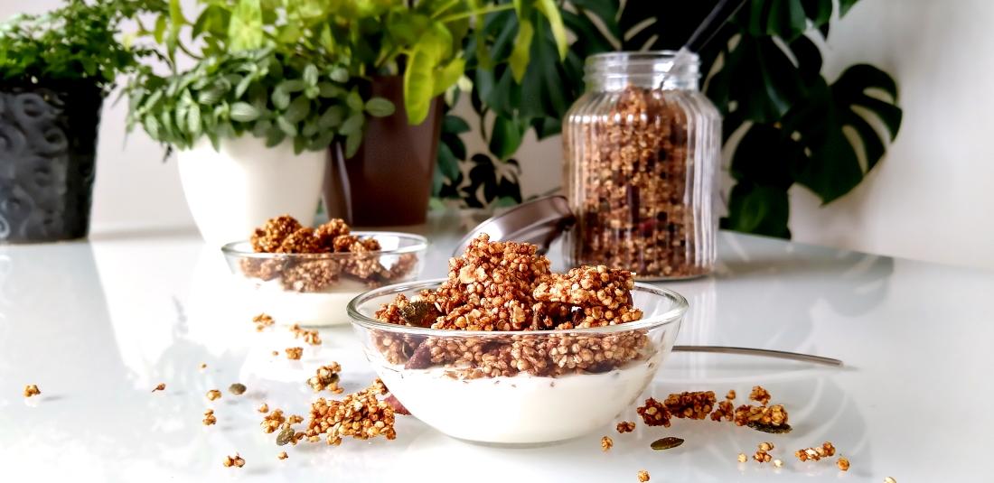 Crunchy gember-quinoagranola